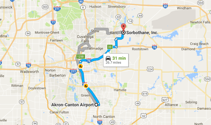 Directions from Akron-Canton Airport