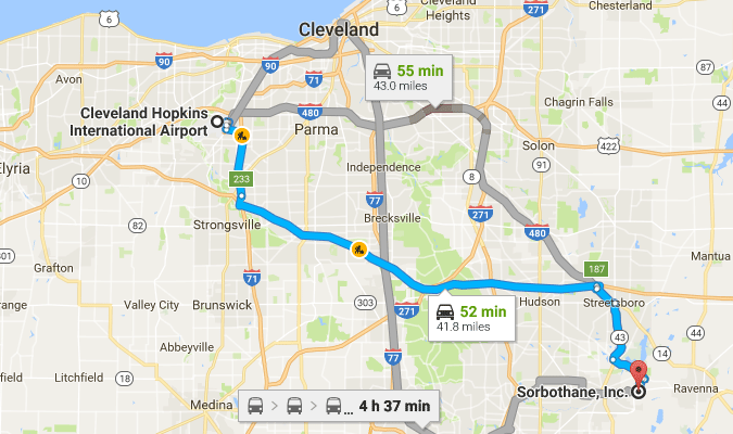 Directions from Cleveland Hopkins Airport
