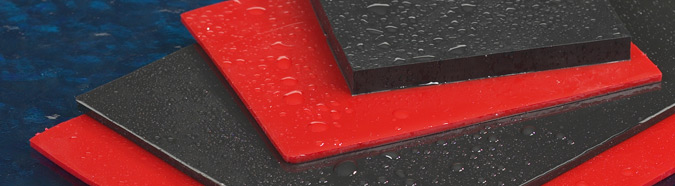 wet black and red rubber pads